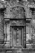 Cambodia.<br /> Angkor. Details of architecture and carvings at the delightful small temple called Banteay Srei.<br /> November 2001
