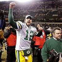 .Green Bay Packers' Aaron Rodgers after beating the Bears 21-14 for the NFC Championship. .The Green Bay Packers traveled to Soldier Field in Chicago to play the Chicago Bears in the NFC Championship Sunday January 23, 2011. Steve Apps-State Journal.