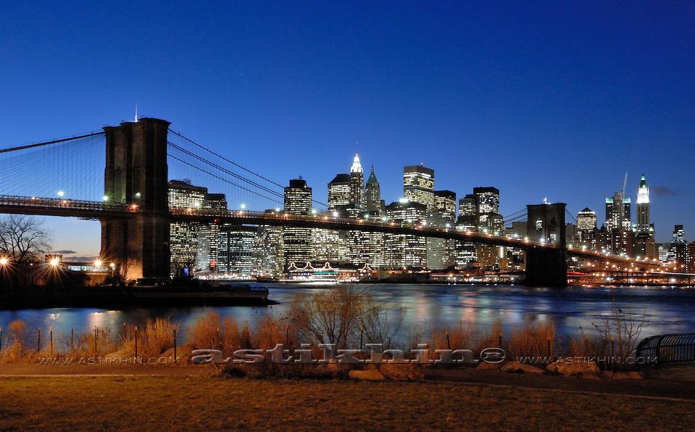Manhattan from Brooklyn after sunset.