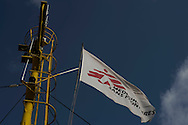 Italy: MSF Dignity1: Medecins Sans Frontieres flag on the Dignity1 on August 23, 2015. Alessio Romenzi