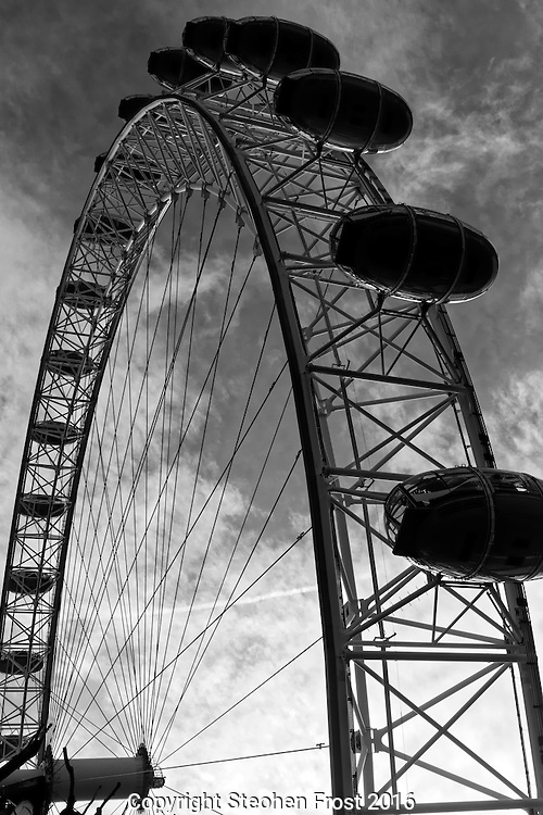 The London Eye is a giant Ferris wheel with spectacular views from the South Bank of the River Thames in London.
