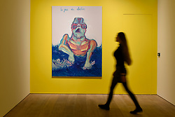 """© Licensed to London News Pictures. 25/04/2017. London, UK. A staff member views """"Le Jeu Du Destin (The Game of Destiny)"""", 1999, by Maria Lassnig.  Launch of a new exhibition program at Sotheby's S