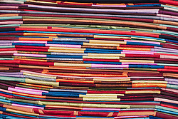 Fabric in a shopfront in the Old Quarter, Hanoi Vietnam. Southeast Asia.