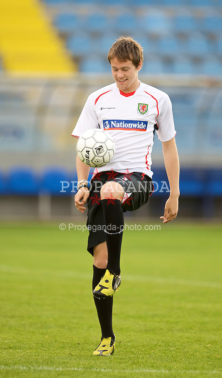 PODGORICA, MONTENEGRO - Tuesday, August 11, 2009: Wales' Chris Gunter during a training session at the Gradski Stadion ahead of the international friendly match against Montenegro. (Photo by David Rawcliffe/Propaganda)
