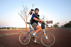Ex Laverton Hospital orderly now part-time prospector Terry Le Gross Bison with bike and metal detector September 22 2006 West Australian Goldfields