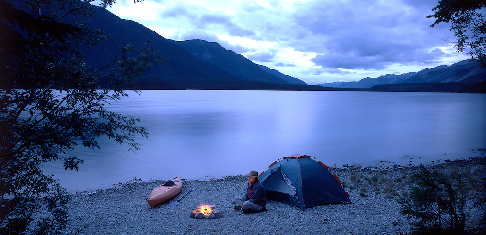 Canoe and Tent on Muncho Lake, Muncho, British Columbia, Canada