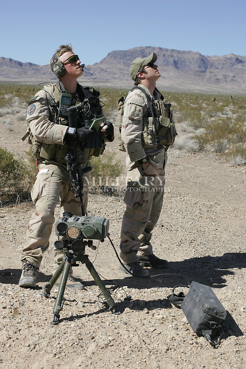 USAF JOINT TACTICAL ATTACK CONTROLLER (JTAC) TRAIN AT CREECH AIR FORCE BASE, NEVADA..Rights-managed stock phtotography.  ..Use in advertising may require image editing to comply with US DoD regulations for promotional use (recognizable visible unit identifications, branch insignia, decorations, rank insignia may not be shown).  ..Verify model release before publication in advertising or promotion.  Reproduction without authorization by Hans Halberstadt or StockPhoto.US or other authorized agent isprohibited.
