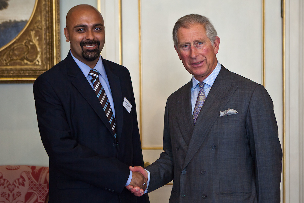 HRH The Prince of Wales with Gyanesh Pandey of Husk Power Systems, India