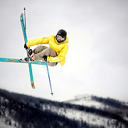 SHOT 2/9/13 1:36:49 PM - Andreas Sjöbeck of Stockholm, Sweden pulls some big air on the way to a first place finish in the Telemark Big Air event at the second annual Winter Mountain Games presented by Eddie Bauer at Vail Ski Resort in Vail, Co. The Winter Mountain Games feature competitions in X-Country On-Snow Mountain Bike Races, mixed climbing, Telemark Big Air,Best Trick Bike and On-Snow Mountain Bike Crit with more than $60,000 in prize money on the line. (Photo by Marc Piscotty / © 2013)
