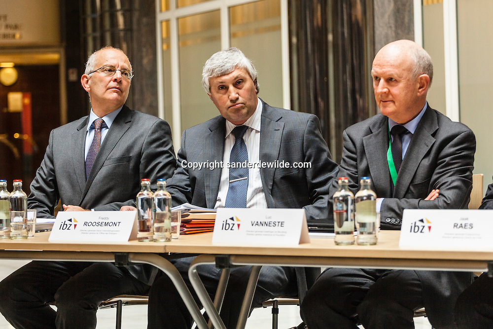 Internal affairs Director generals, from right to left:  DG Luc Vanneste, DG citizens, Freddy Roosemont and Dirk Van den Bulck, refugees, migration