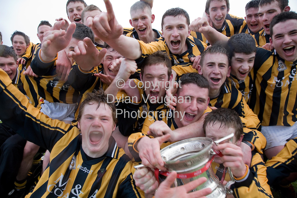 18/3/2007.Pictured in  at the Leinster Senior College's final at Nowlan Park Kilkenny was Castlecomers celebrating the win against CBS Kilkenny..Picture Dylan Vaughan.