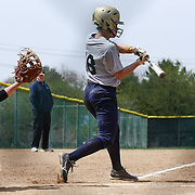 Goldey-Beacom infielder Ashley Zaccaria (18) attempts to make contact with ball at home plate during a NCAA Central Atlantic Collegiate Conference game between Nyack College and Goldey-Beacom Saturday, April 19, 2014, at Nancy Churchmann Sawin Athletic Field in Wilmington Delaware.<br /> <br /> Goldey-Beacom defeats Nyack College 10-5 in Game 1<br /> <br /> Nyack College defeats Goldey-Beacom 1-0 in Game #2