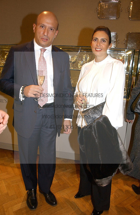 DIAMANTIS &amp; MARIA LEMOS at a private view of the forthcoming sale 'From the Collection of King George 1 of The Hellenes', held at Christie's. King Street, London on 22nd January 2007.<br />