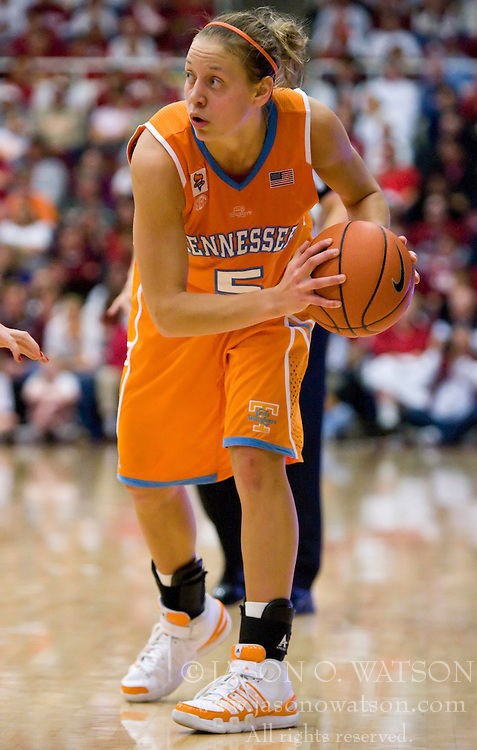 December 19, 2009; Stanford, CA, USA;  Tennessee Lady Volunteers guard/forward Angie Bjorklund (5) during the second half against the Stanford Cardinal at Maples Pavilion.  Stanford defeated Tennessee 67-52.