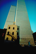 NYC, NY, World Trade Center and Saint Nicholas Greek Orthodox Church, Twin Towers, designed by Minoru Yamasaki, International Style I