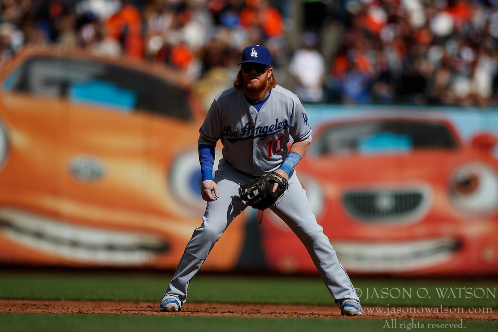 SAN FRANCISCO, CA - OCTOBER 02: Justin Turner #10 of the Los Angeles Dodgers stands on the field against the San Francisco Giants during the third inning at AT&T Park on October 2, 2016 in San Francisco, California. The San Francisco Giants defeated the Los Angeles Dodgers 7-1. (Photo by Jason O. Watson/Getty Images) *** Local Caption *** Justin Turner
