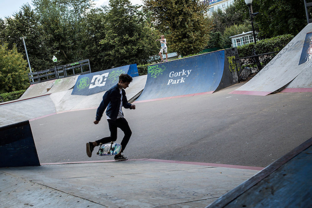 The skate park is a big draw for in-line skaters, skate boarders, BMX bikers and others in Gorky Park on Saturday, August 17, 2013 in Moscow, Russia.