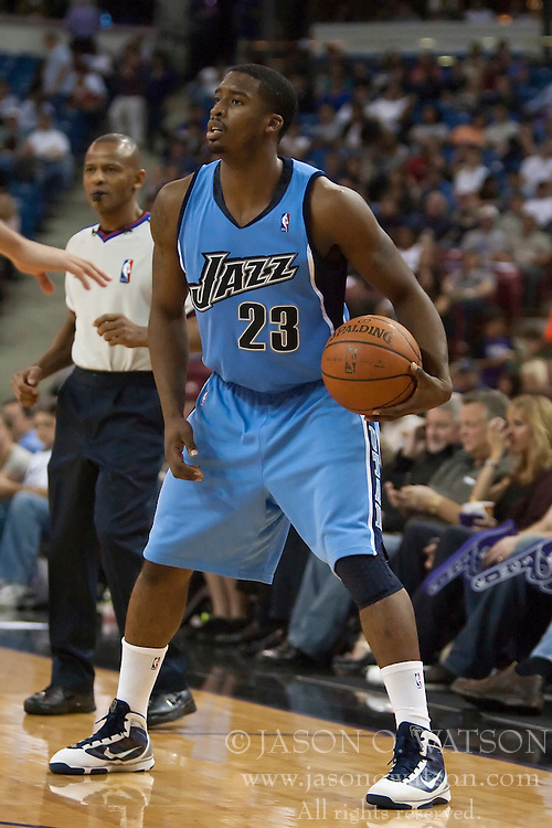 October 23, 2009; Sacramento, CA, USA;  Utah Jazz guard Wes Matthews (23) during the third quarter against the Sacramento Kings at the ARCO Arena.  The Jazz won 95-85.
