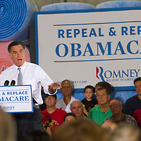 Republican Presidential Candidate Mitt Romney asks his supporters to &quot;Repeal &amp; Replace ObamaCare.&quot; <br />