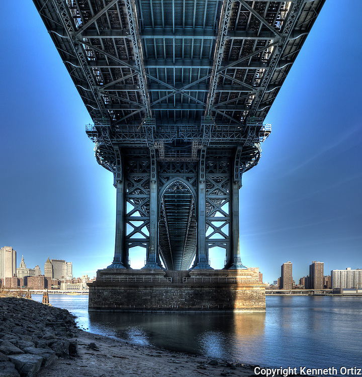 A view underneath the Manhattan Bridge from the Brooklyn side.