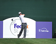 Harrison Frazar tees off on the 17th hole at the PGA FedEx St. Jude Classic at TPC Southwind in Memphis, Tenn. on Sunday, June 12, 2011. Harrison Frazar won the tournament on the third playoff hole against Robert Karlsson. The victory was Frazar's first ever on the PGA tour.