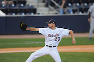 Mississippi's Matt Crouse pitches against  Arkansas-Little Rock's at Oxford-University Stadium in Oxford, Miss. on Wednesday, April 7, 2010. Arkansas-Little Rock won 9-6.