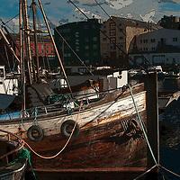 Trondheim marina ship fineart