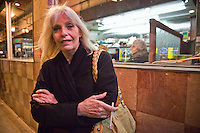 Lynn Fisher, of Austin, TX, in front of the Pine Crest Diner, San Francisco, CA
