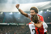 ROTTERDAM - Feyenoord - AZ , Voetbal , Seizoen 2015/2016 , Halve finales KNVB Beker , Stadion de Kuip , 03-03-2016 , Speler van Feyenoord Michiel Kramer (r) viert de 1-0 met Speler van Feyenoord Tonny Vilhena (l)