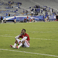 September 15, 2012 - Lexington, Kentucky, USA - Western Kentucky University defensive back TYREE ROBINSON sat mid-field at Commonwealth Stadium to relish his team's victory over the University of Kentucky, 32-31, on a trick play in overtime. (Credit Image: © David Stephenson/ZUMA Press).