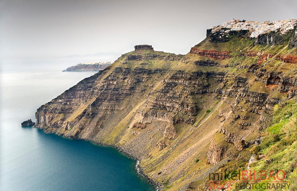 Cliffs and village.<br /> Fira. Santorini island.<br /> Cyclades islands, Aegean Sea, Greece, Europe.