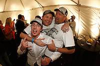 6 June 2007:  Ryan Carter, Rick Burill and Chris Kincaid celebrate together after game 5 of the NHL Stanley Cup playoff championship game where the Anaheim Ducks defeated the Ottawa Senators 6-2 in regulation at the Honda Center in Anaheim, CA.