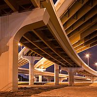 USA, Florida, Tampa, Expressway bridges near Tampa International Airport at night