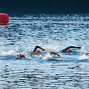 Women's Half Ironman Start.  Best in the West Triathlon.  Half Ironman Triathlon at Foster Lake on 10 September 2011, Sweet Home, Oregon.