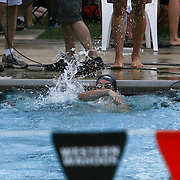 Swimmer Daniel Halberg (17) celebrates after winning the 50 meter freestyle consolation finials during the Summer Swim league championships finials Saturday, July. 17, 2015 at Western YMCA in Wilmington, DEL
