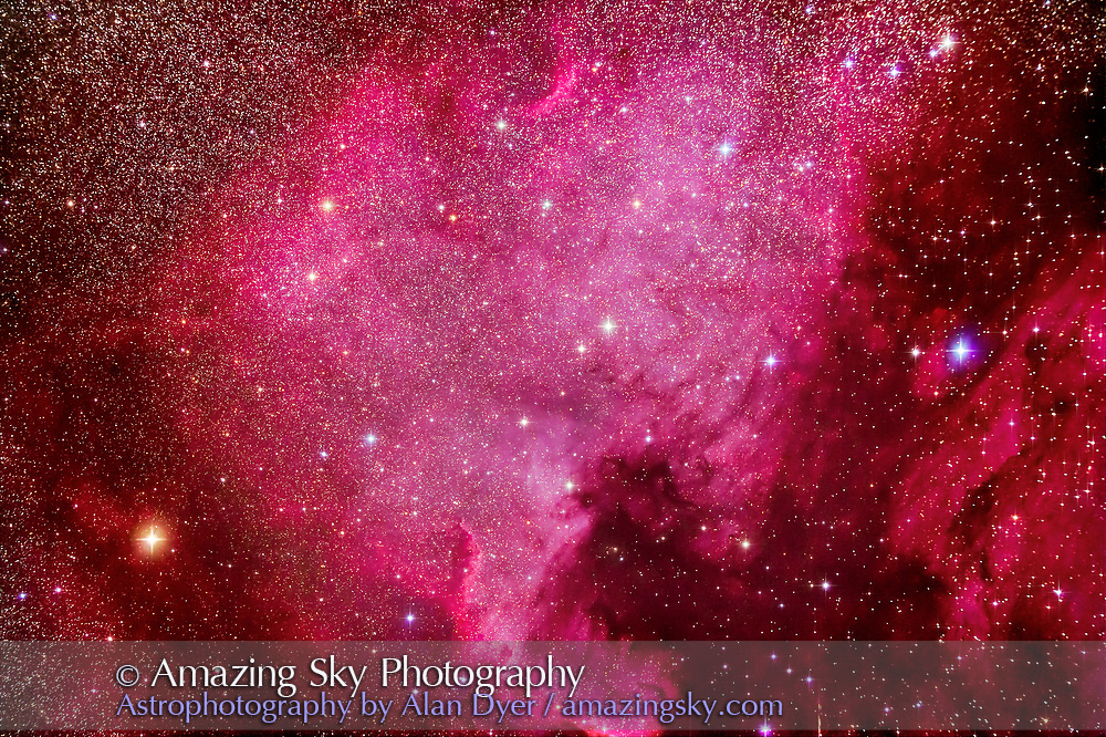 NGC 7000, the North America Nebula, with the Pelican Nebula, IC 5067, at right, in Cygnus, taken from home November 21, 2016 as part of testing of the Explore Scientific FCD100 102mm apo refractor. This is a stack of 5 x 6-minute exposures at f/7 with the ES field flattener, and at ISO 1600 with the filter-modified Canon 5D MkII. Star diffraction spikes added with AstronomyTools actions.
