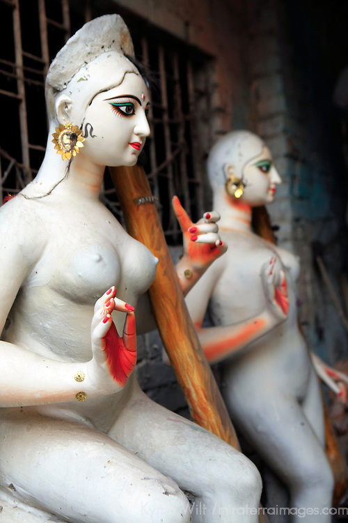 Asia, India, Calcutta. Female diety sculpture in the potter's village of Kumartuli in Calcutta.