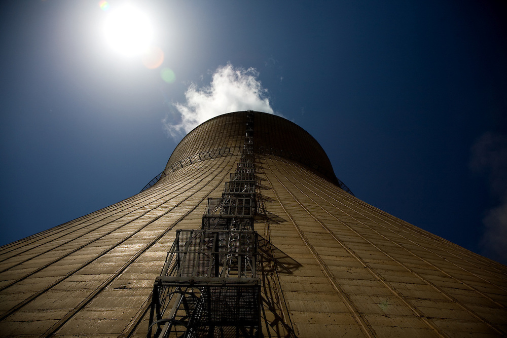 The Kosova Energy Corporation (KEK) operates two powerplants in the town of Obilic, near the capitol of Pristina, which powers much of Kosovo.  .Inside the Kosova B powerplant, cooling tower...Obilic, Kosovo, Serbia.