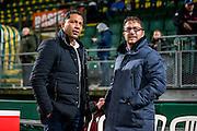 DEN HAAG - ADO Den Haag - Vitesse , Voetbal , Eredivisie , Seizoen 2016/2017 , Kyocera Stadion , 03-02-2017 , Vitesse trainer coach Henk Fraser (l) samen met ADO Den Haag trainer Ziljko Petrovic (r)