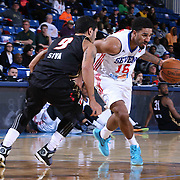 Delaware 87ers Guard DJ Seeley (18) attempts to drives past Erie BayHawks Guard Peyton Siva (9) in the first half of a NBA D-league regular season basketball game between the Delaware 87ers and the Erie BayHawk (Orlando Magic) Friday, Mar. 20, 2015 at The Bob Carpenter Sports Convocation Center in Newark, DEL.
