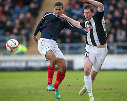 Falkirk's Lyle Taylor and Dunfermline's Callum Morris..Falkirk 1 v 0 Dunfermline, 16/2/2013..©Michael Schofield.