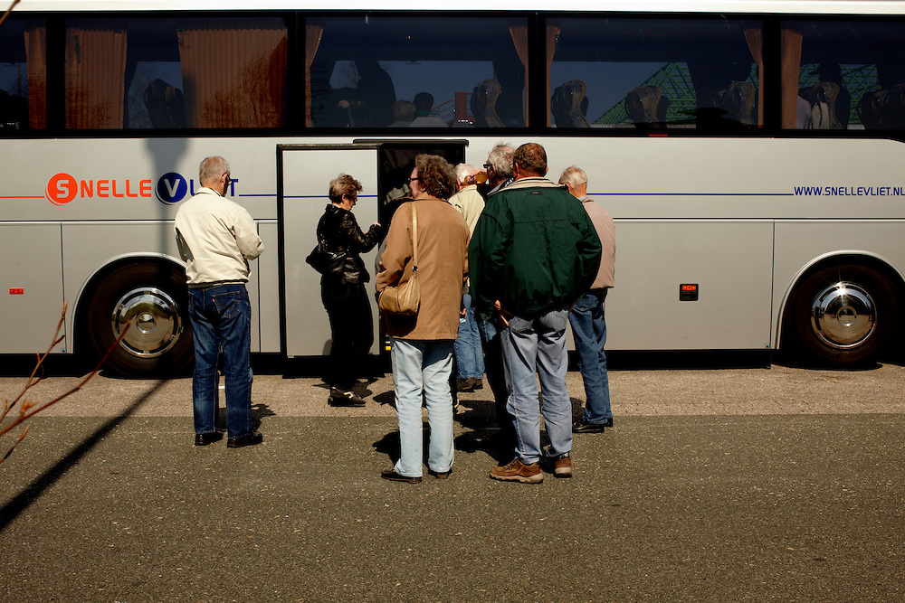 Netherland/Germany-border, 17.04.10..Due to the closed airspace over Europe, a group of 24 norwegian retirees hired a bus for 9300 euro, and embarked on the 20 hour roadtrip back home from vacation...Photo by: Eivind H. Natvig/MOMENT