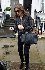 FEB 06 2014 Elizabeth  Hurley outside her home in London