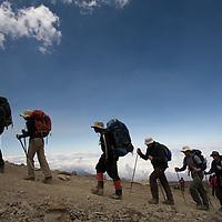 Africa, Tanzania, Kilimanjaro National Park, (MR) Climbing party hikes up trail from Karanga Camp (13000') to Barafu Camp (15100') in early morning sun