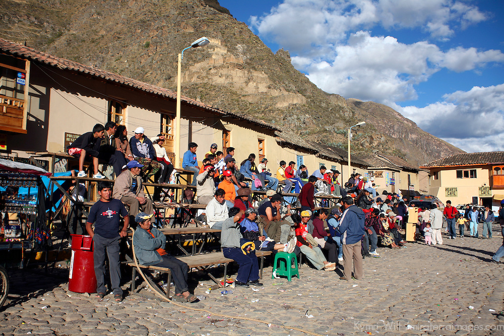 South America, Latin America, Peru, Urubamba Valley. Locals gather for a Sunday festival event in Ollanta (Olantaytambo).