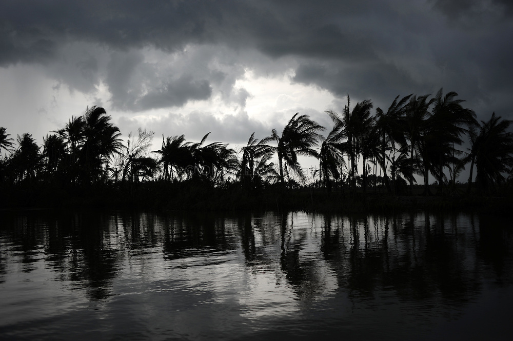 Threatening clouds are seen near the village of Chaung Lin on May 23, 2008 in the isolated area of Kanzeik in the Irrawaddy Delta region -- an area only accessible by boat which has received neither government nor foreign aid. Voters in regions devastated by the cyclone, many hungry and destitute, cast ballots on May 24 in a referendum that many said was meaningless because Myanmar's junta has already declared victory.