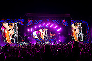 HAVANA, CUBA - MARCH 25, 2016: The Rolling Stones perform at Ciudad Deportiva on March 25, 2016 in Havana, Cuba. The Rolling Stones performance is the first by a major international rock band in Cuba, coming days after a historic visit by President Barack Obama of the United States, and a game between the Tampa Bay Rays and the Cuban National Team at Estadio Latinoamericano. The Cuban government banned rock music on Cuban state TV and radio following the Cuban the revolution, and nearly a half-million people are in attendance to be part of the historic event. (Photo by Jean Fruth)