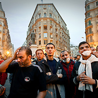 Demonstrators take over downtown Cairo during clashes with police, Egypt. January 2011.