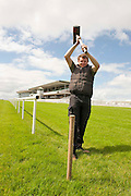 Joe Allen putting the finla touches to the Racecourse  in Ballybrit Galway host to the Galway races this week. Photo:Andrew Downes