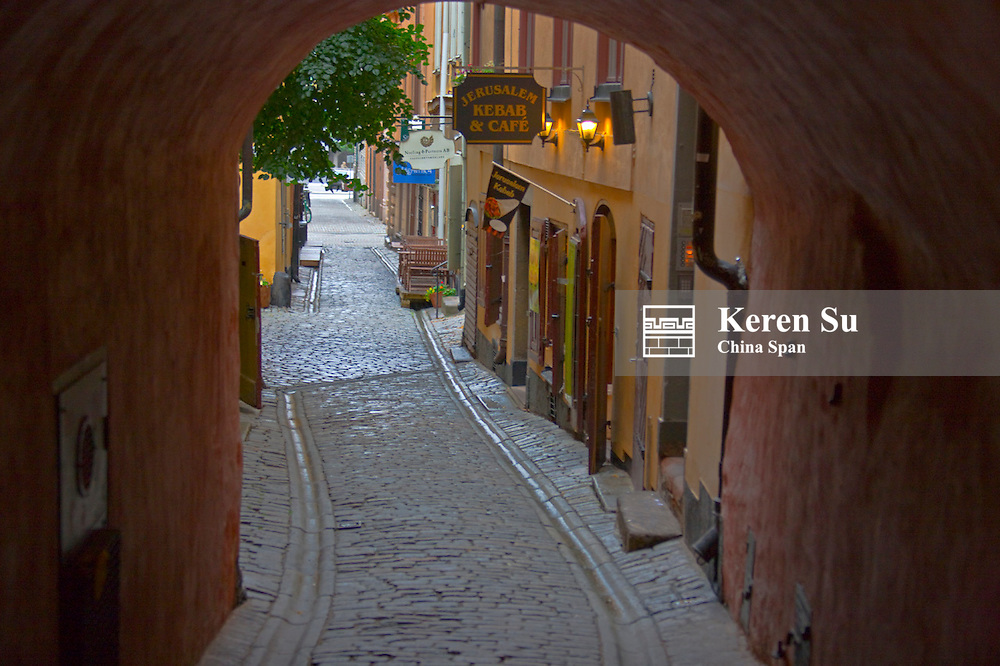 Cobbled street and buildings in the old town, Stockholm, Sweden